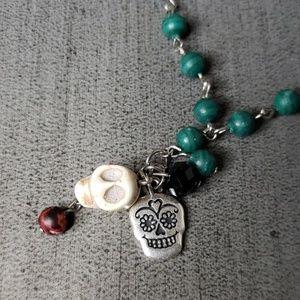 Jewelry - Skull Skull Rosary style Bead Necklace